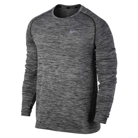 Pánské běžecké tričko s dlouhým rukávem Nike Dry Knit Šedá