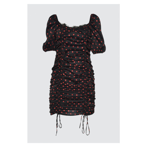 Trendyol Black Collar Detailed Polka-ed Satin Dress