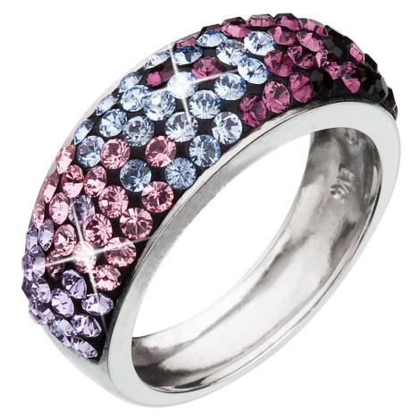 Evolution Group Stříbrný prsten s krystaly Swarovski mix barev fialová 35027.3