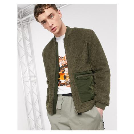 ASOS DESIGN teddy bomber jacket in khaki-Green
