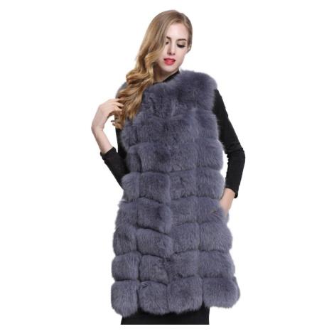 Kožešinová vesta dámský chlupatý kožich bez rukávů