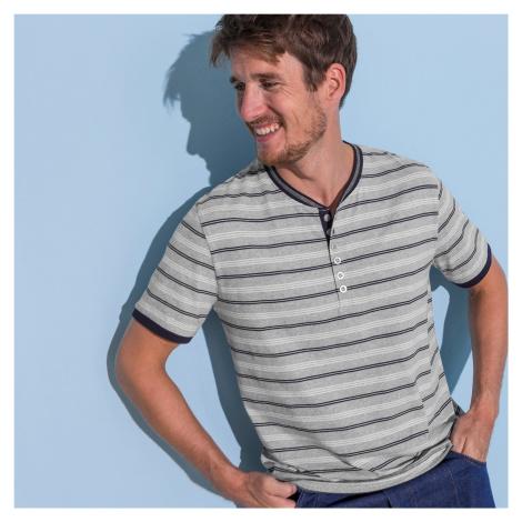 Blancheporte Pruhované tričko s tuniským výstřihem šedý melír