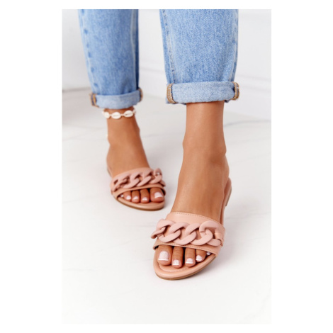 Leather Slippers With A Chain Camel Step By Step Kesi