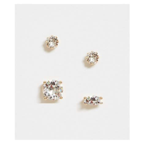 ASOS DESIGN 6mm and 10mm stud earring pack with Swarovski crystals in gold tone