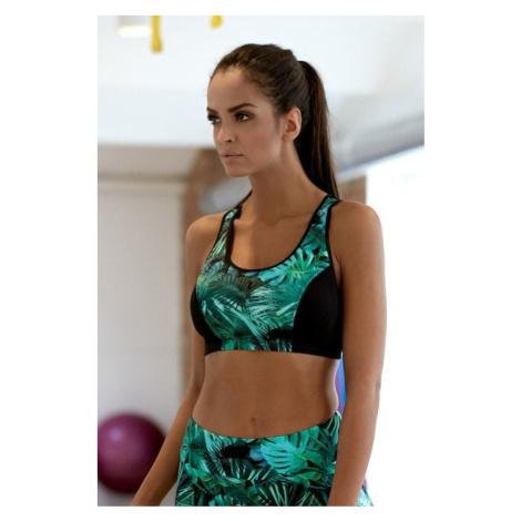 Fitness funkční podprsenka Patricie zelené listy