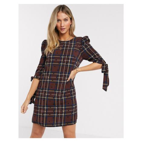 Liquorish mini dress in brown check