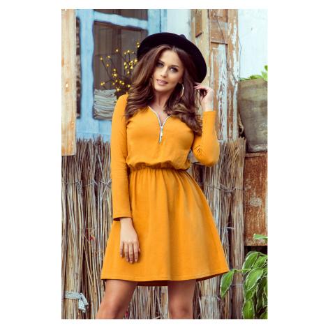 NANCY - Dámské šaty v hořčicové barvě se zipem 283-1 NUMOCO