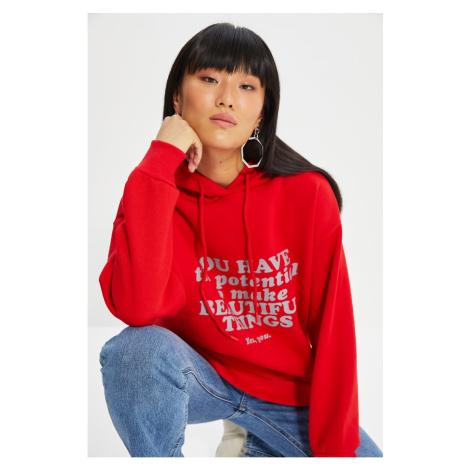 Trendyol Red Printed Hooded Loose Pattern Knitted Sweatshirt