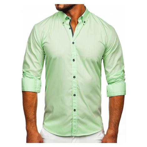 Světle zelená pánská košile s dlouhým rukávem Bolf 20716