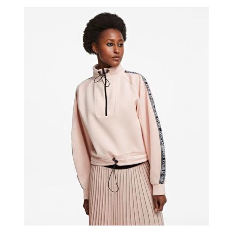 Mikina Karl Lagerfeld Double Jersey Cropped Sweat - Růžová