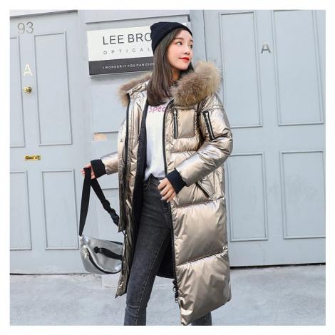 Lesklá dlouhá bunda zimní parka s kožešinovou kapucí
