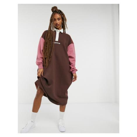 Adidas Originals 'Cosy Comfort' fleece oversized polo dress in colour block-Brown
