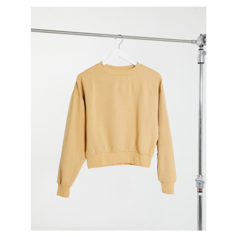 ASOS DESIGN super soft cropped batwing sweatshirt in sand-Beige