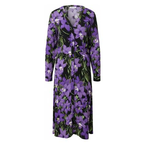 EDITED Košilové šaty 'Sallie' černá / fialová / zelená