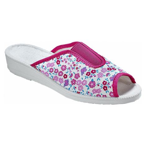 Blancheporte Pantofle s potiskem kytiček růžová
