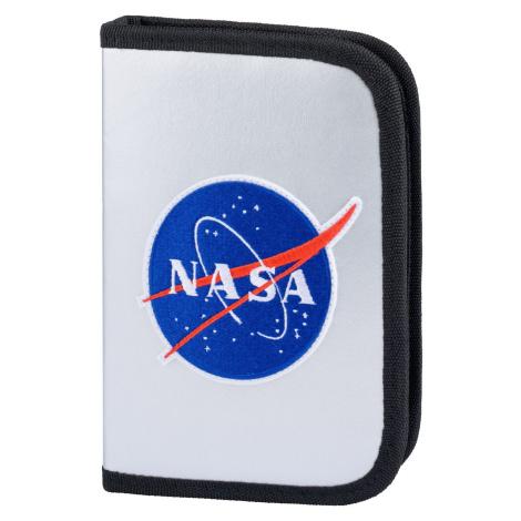 Stříbrný zipový školní penál pro kluky s motivem NASA Baagl