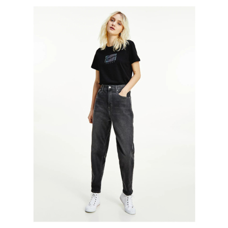 Tommy Jeans dámské šedé džíny MOM JEAN
