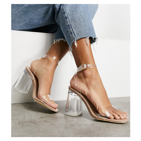 Truffle Collection wide fit clear heeled sandals-Neutral