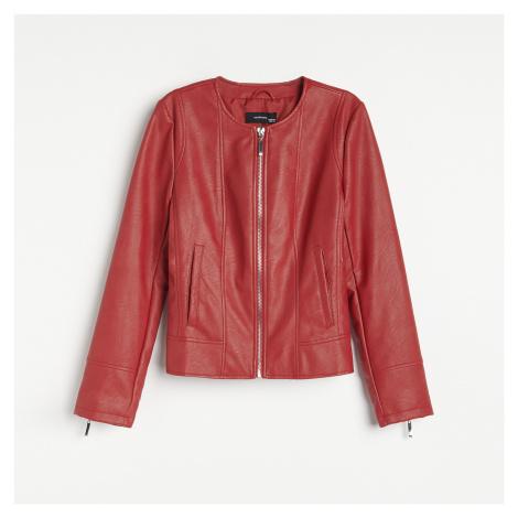 Reserved - Krátká bunda z umělé kůže - Červená