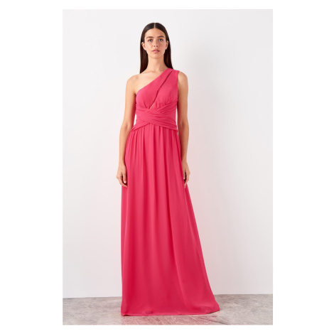 Trendyol Fuchsia Lace Drop Collar Detailed Evening Dress