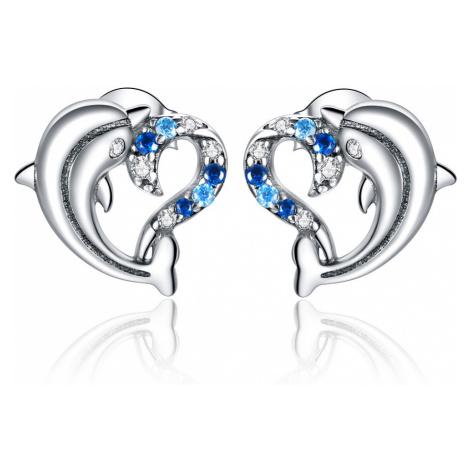 Linda's Jewelry Stříbrné náušnice Pecky Dolphin Lover Ag 925/1000 IN182