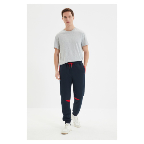 Trendyol Navy Blue Men's Regular Fit Elastic Leg Paneled Sweatpants