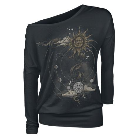 Gothicana by EMP Schwarzes Langarmshirt mit Rundhalsausschnitt und Print dívcí triko s dlouhými