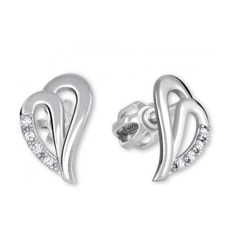 Brilio Náušnice srdce z bílého zlata 001 07