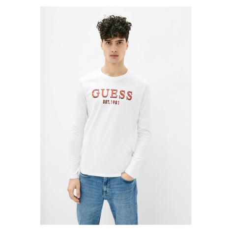 Guess GUESS pánské bílé tričko s dlouhým rukávem