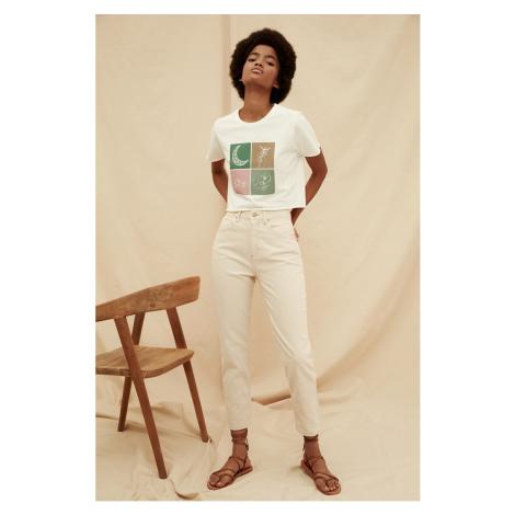 Trendyol Ecru High Waist 100% Organic Cotton Mom Jeans