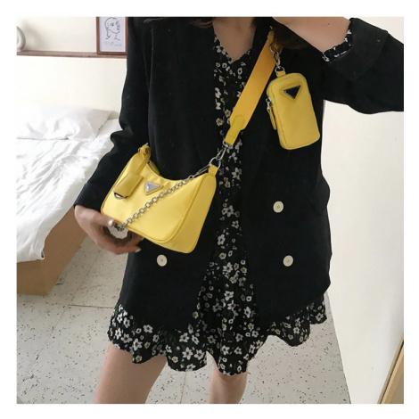 Trendová kabelka žlutá crossbody psaničko a pouzdro na telefon