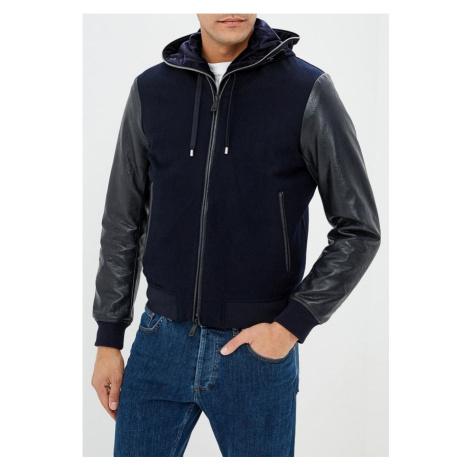 Armani Emporio Armani pánská kožená bunda tmavě modrá