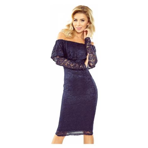 Tmavě modré krajkové šaty s dlouhým rukávem model 5279961 Morimia