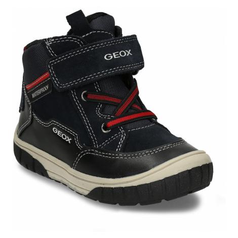 Tmavě modrá zimní kožená kotníková obuv Geox