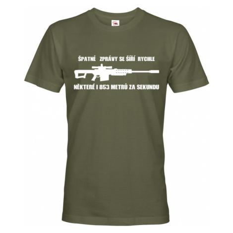 Pánské tričko Špatné zprávy se šíří rychle pro military a army nadšence BezvaTriko