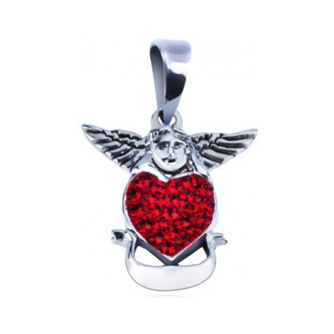 Stříbrný přívěsek 925 - anděl nad červeným srdcem se stuhou Šperky eshop