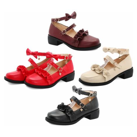 Červené loafers na mini podpatku s páskem přes nárt a kolem kotníku