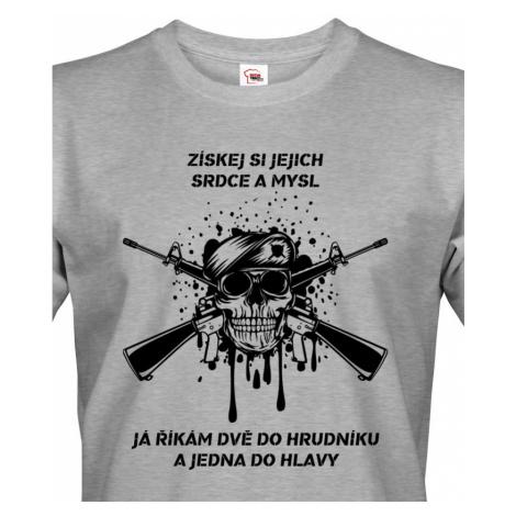 Pánské army triko Dvě do hrudníku a jedna do hlavy - ideální pro military BezvaTriko