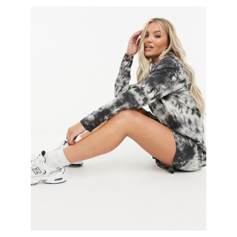 Missguided shirt dress with button front in tie dye-Multi