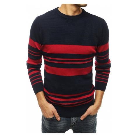 Tmavě modrý pánský svetr s červenými pruhy BASIC
