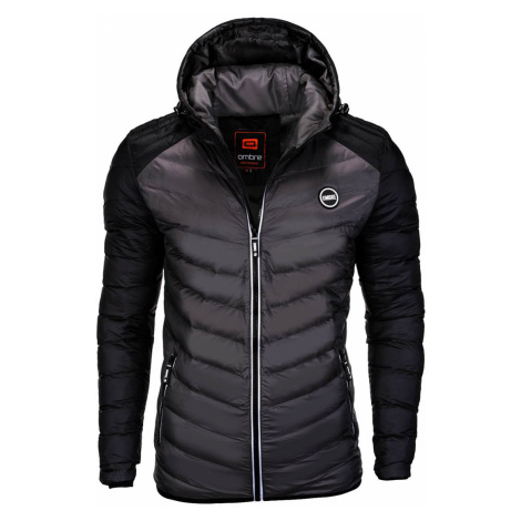Pánská prošívaná zimní bunda Freud černo-šedá Ombre Clothing