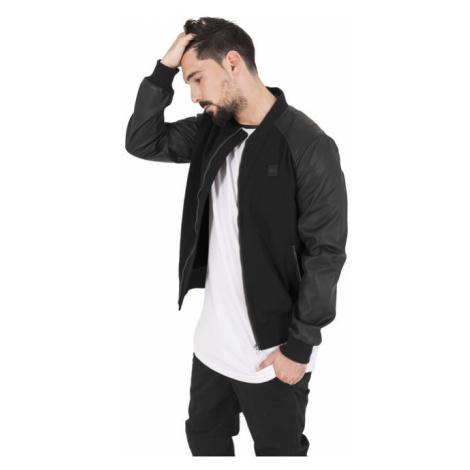 Urban Classics Cotton Bomber Leather Imitation Sleeve Jacket blk/blk