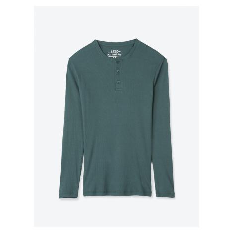 GATE Jednoduché žebrované tričko s knoflíky