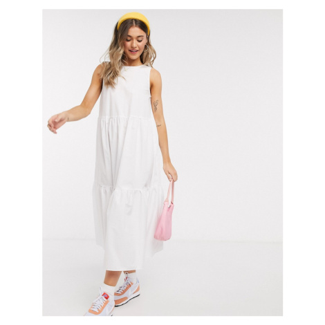 ASOS DESIGN sleeveless cotton tiered midi dress with open back in white