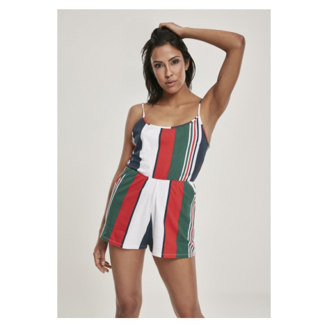 Ladies Patter Short Spaghetti Jumpsuit - white/navy Urban Classics