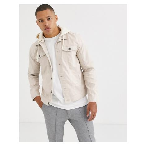 Brave Soul hooded denim jacket-Cream