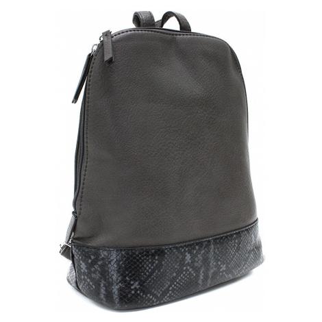 Tmavě šedý stylový dámský batoh/kabelka Leondra Mahel