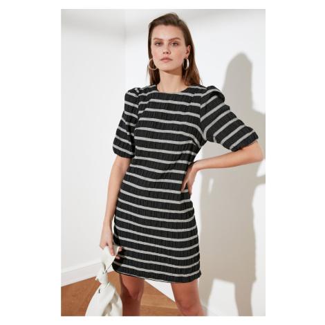 Trendyol Gray Striped Balloon Sleeve Dress