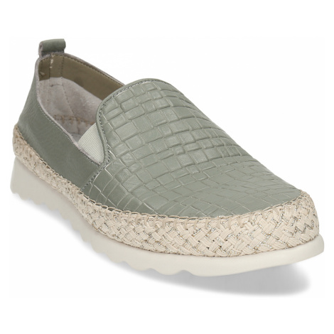 Zelená kožená dámská slip-on obuv Baťa
