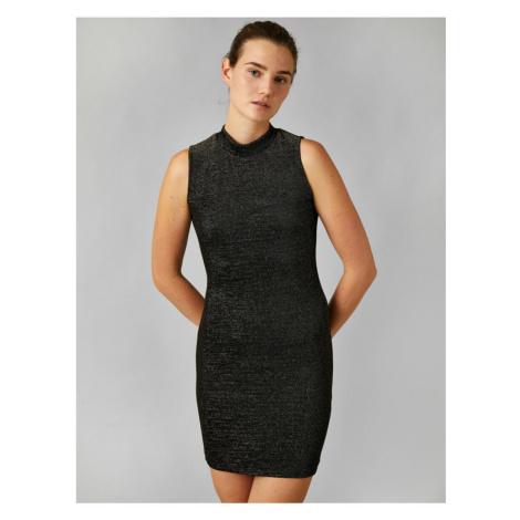 Koton Metallic Dress Evening Dress High Neck Sleeveless Short